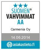 Suomen vahvimmat AA sertifikaatti Carmenia Oy:lle